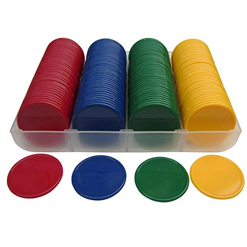 SmartDealsPro Set of 160 Opaque 1.5 Inch Plastic Counting Counters Poker Chips with Storage Box