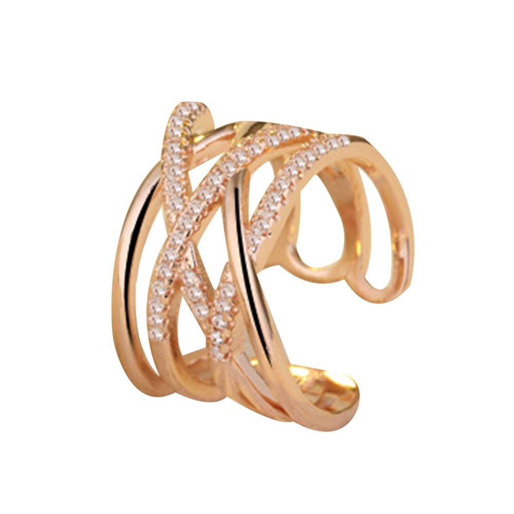 YXYP Impression 1pcs Anelli Anello di diamanti di moda anello di vetro Girl Accessori della gioielli festa di San Valentino regali di matrimonio anello aperto colore: argento cod. YXFR003
