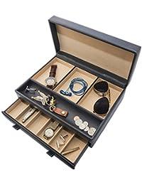 Luxury Mens Dresser Valet Organizer for Watches, Jewelry & Accessories – Jewelry Display Box, Nightstand Organizer & Accessory Holder