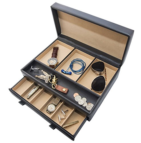 Stock Your Home Luxury Men's Dresser Valet Organizer for Watches, Jewelry & Accessories – Large Jewelry Holder & Display ()