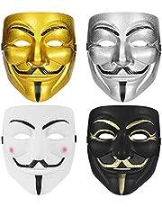 Arcadora V voor Vendetta masker, hakmasker, voor kinderen, volwassenen, vrouwen, mannen, Halloween, kostuum, cosplay (4 stuks)
