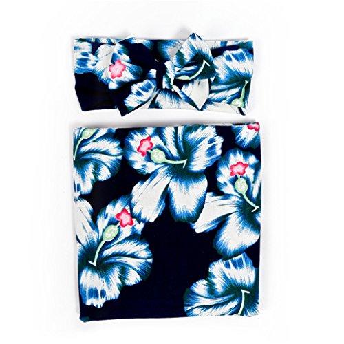 Ufraky Newborn Infant Baby Floral Swaddle Wrap Swaddling Sleeping Bag Blanket Headband (Dark blue)