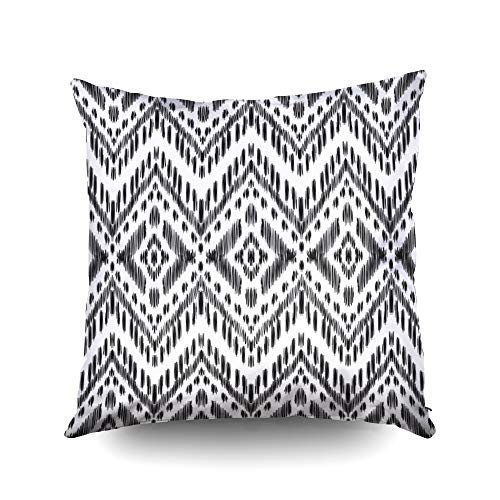My Pillow Covers,Seamless pattern for home decor ideas Ikat chevron wallpaper Ethnic indian aztec fashion style Pillow textile decoration Tribal vector background Black and white graphic -