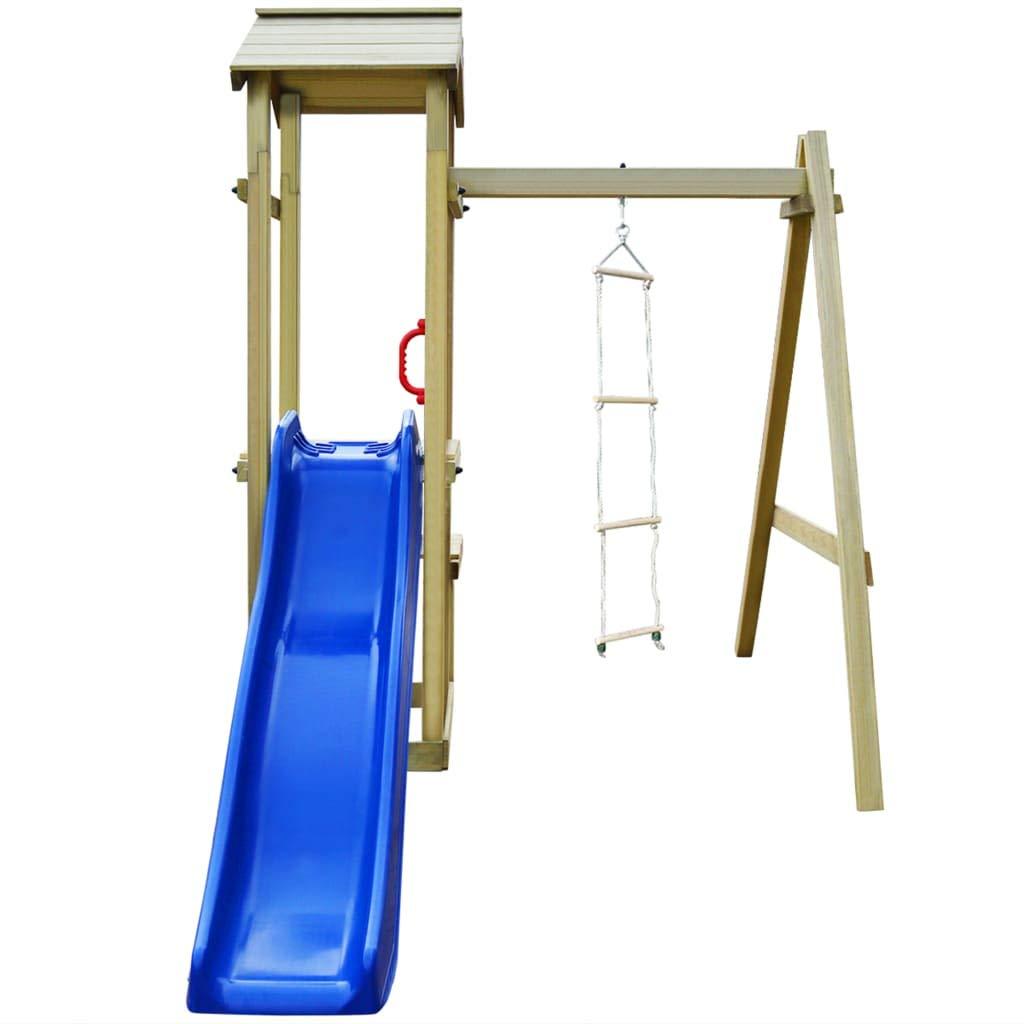 Sandpit Wave Slide 228x168x218 cm Festnight Kids Children Climbing Frame| Wooden Playhouse Set| Outdoor Playground Set Play Centre with Rope Ladder