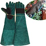 "ZZ Lighting 23.6""Animal Handling Anti-bite/scratch Gloves For Dog Cat Bird Snake Parrot Lizard Wild Animals Protection Gloves(Deep Green)"
