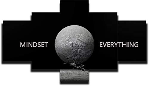 MINDSET IS EVERYTHING Wall Art Ant Carry Stone 5 Pieces Animal Paint