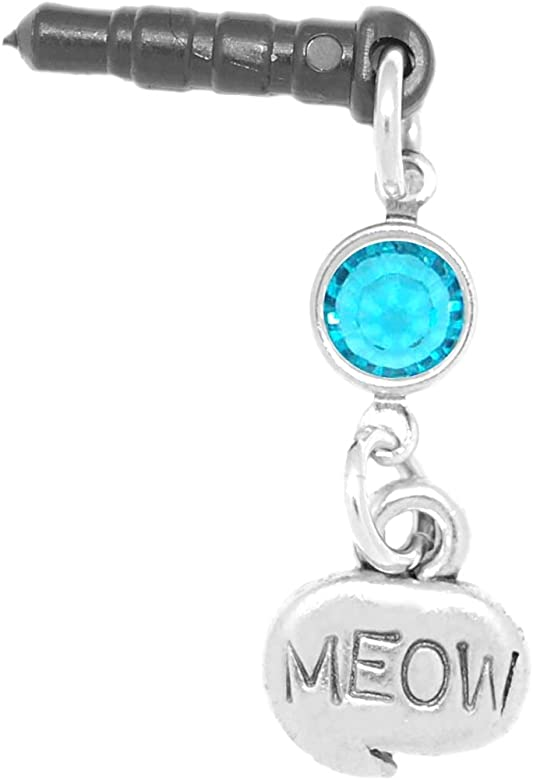 Clayvision Meow Cat Phone Charm Blue Zircon Colored Crystal December Black Plug