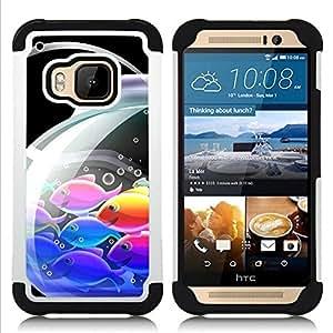 BullDog Case - FOR/HTC ONE M9 / - / Japanese Anime Koi Fish /- H??brido Heavy Duty caja del tel??fono protector din??mico - silicona suave