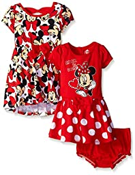 Disney Baby-Girls Minnie Mouse Rock The Dots Dresses, Red, 18 Months (Pack of 2)