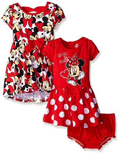 Disney Baby-Girls Minnie Mouse Rock The Dots Dresses, Red, 0-3 Months (Pack Of 2)