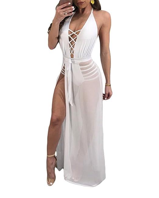Kasen Vestidos Para Playa Vintage Elegantes Sin Manga Mujer Fiesta Largo Vestido Blanco S