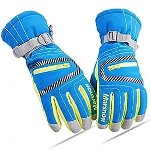 LoveKids Waterproof Warmest Winter Snow Snowboard Gloves for Boys and Girls Teens Women Men(808Blue-S-1)
