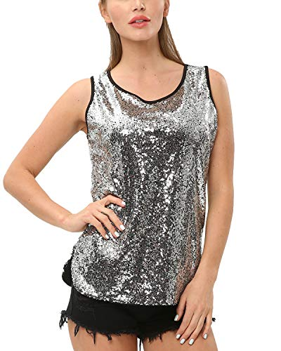BELLEZIVA Women's Sequin Top Camisole Sleeveless Vest Round Neck Shimmer Tunic Blouse (Silver, Small)