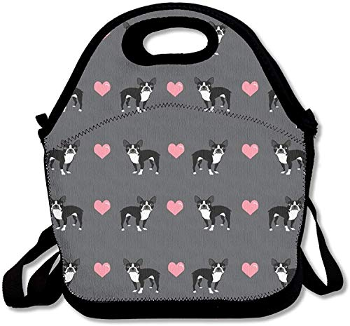 Boston Terrier Love Hearts Zipper Portable Lunch Picnic Handbag Bag Waterproof Insulated Food Container School Office Travel Outdoor Work Lunch Bag Tote