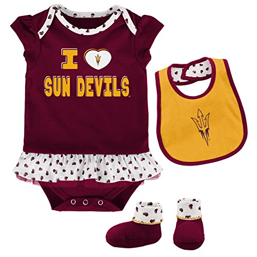Outerstuff NCAA Arizona State Sun Devils Newborn & Infant Team Love Bib & Booties Set, Maroon, 6-9 Months by Outerstuff