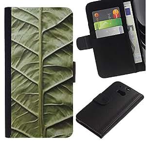 ZCell / HTC One M8 / Green Leaf Nature Biology Vignette / Caso Shell Armor Funda Case Cover Wallet / Verde Hoja Naturaleza Biología Vi&nti