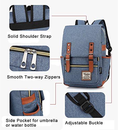 Unisex Professional Slim Business Laptop Backpack, Feskin Fashion Casual Durable Travel Rucksack Daypack (Waterproof Dustproof) with Tear Resistant Design for Macbook, Tablet - Blue by Feskin (Image #5)