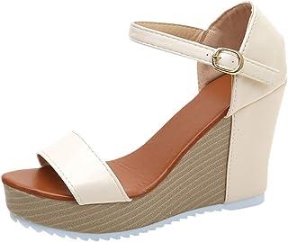 Sunnywill Sandales D'été Décontractées pour Femmes, Chaussures Peep Toe à Talons Hauts