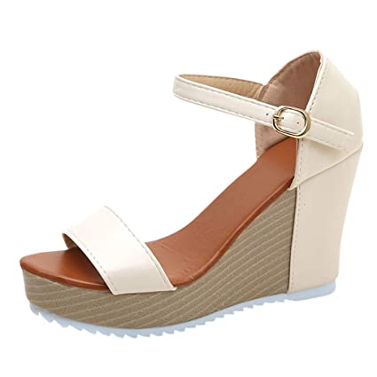 4982e55a6f15 Amazon.com  Women High Heel Wedges Sandals Work Party Dress Shoes Ladies  Buckle Strap Peep Toe Fashion Casual Summer Outside Shoes  Home Improvement