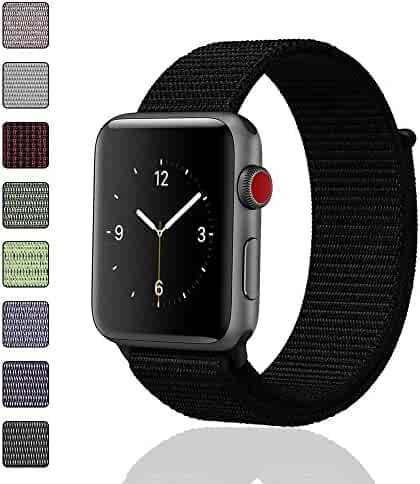 iMoway Sport Loop Band Compatible for Apple Watch 38mm 42mm, Nylon Replacement Wristbands Compatible for iWatch Series 1/2/3, Nike+,Sport,Edition (Pure Black, 42mm)