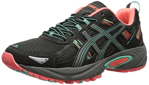 ASICS Women's Gel-venture 5 Running Shoe, Black/Aqua Mint/Flash Coral, 7 M US (Best Running Shoes For Flat Feet 2015)