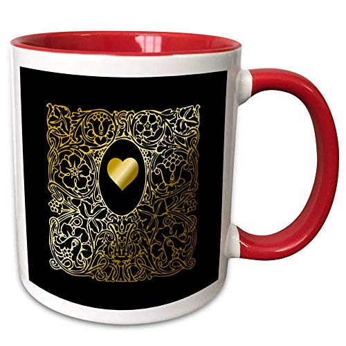 - 3dRose Russ Billington Designs - Image of Ornate Gold Effect Heart and Frame- not foil embossed - 11oz Two-Tone Red Mug (mug_291560_5)