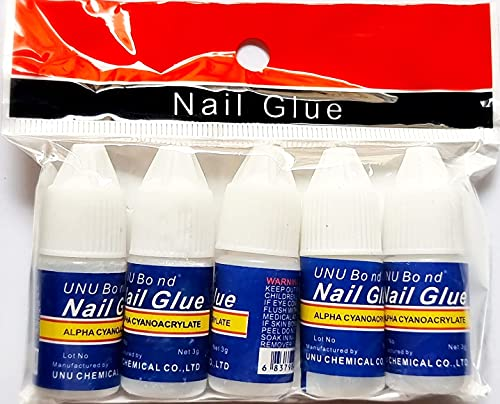 Angelie Professional Nail Glue Manicure Tool For Fake Nails Set of 5 Pcs 3g