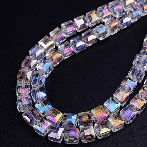(Baost 96pcs AB Colorful DIY Crystal Beads Cube Crystal Glass Beads Faceted Square Shape Spacer Charm Beads for Bracelet Necklace Jewelry Making DIY Craft Decoration 6 mm)