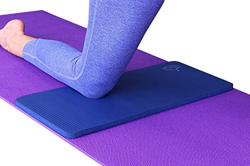 SukhaMat Yoga Knee Pad – NEW! 15mm (5/8) Thick – The best yoga knee pad for a pain free practice. Cushions pressure points. Complements your full-size yoga mat. (Dark Blue)