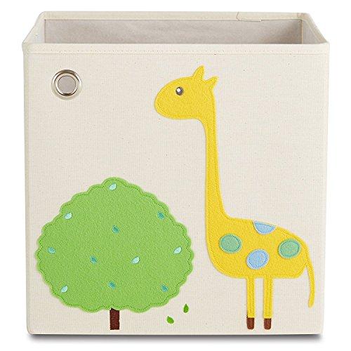 kaikai & ash Toy Storage Bins, Foldable Canvas Cube Box for Kids, 13 inch - Baby Giraffe