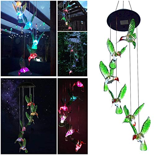 Sunjoyco Hummingbird Solar Wind Chimes, Color-Changing Outdoor Waterproof LED Wind Chime Solar Powered Colorful Light for Home/Party / Yard/Garden Decoration