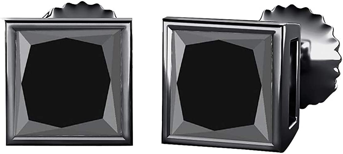RUDRAFASHION 3.00 CT Princess Cut Diamond 6MM Solitaire Fashion Stud Earrings 14K Black Gold Over .925 Sterling Silver