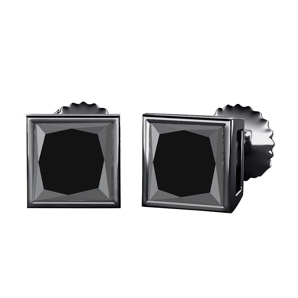 Bezal Set Princess Cut Created Gemstones Solitaire Stud Earrings 14K Black Gold Over .925 Sterling Silver 8MM