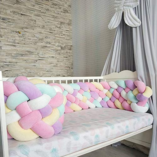 Baby Crib Bumper Knotted Braided Bumper Handmade Soft Knot Pillow Nursery Cradle Decor Newborn Gift Crib Protector 6 Strands Pink+White+Green+Yellow+Purple 118inch