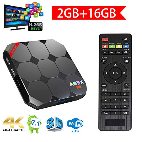 Sawpy A95X R2 Android TV Box Android 7.1 Smart TV Box CPU 2GB 16GB 64bit Quad Core 4K UHD WiFi LAN VP9 DLNA