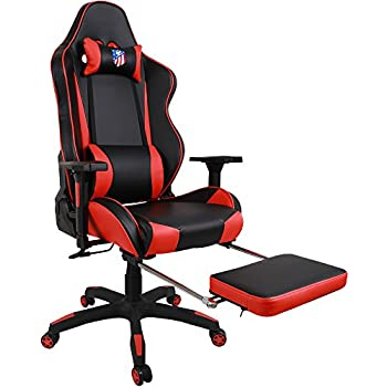 Kinsal Gaming Chair Racing Style High-Back PU Leather Office Chair Computer Desk Chair Executive and Ergonomic Style Swivel Chair with Headrest and Massage Lumbar Support (Red)