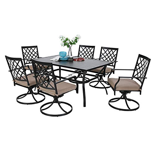 MF Outdoor Patio Dining Set 7 Pieces Metal Furniture Set, 6 x Swivel Chairs with 1 Rectangular Umbrella Table for Outdoor Lawn Garden Black (Patio Dining Outdoor Small Sets)