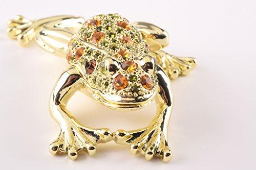 Keren Kopal Gold Frog Trinket Box Faberge Style Decorated with Swarovski Crystals Unique Home Decor ()