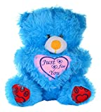 Leo Toys Soft Cuddly Stuffed Valentine Love Teddy Bear Play Toy w/ Heart for Unisex Kids/ Toddler Baby's Huggable Beautiful Animal Fur Doll, Blue