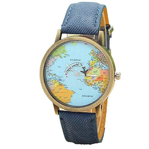 Oksale Men Women Global Printed Watch Denim Watch Band (Blue)