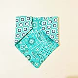Teal Paisley REVERSIBLE Pattern Dog Bandana No-Tie
