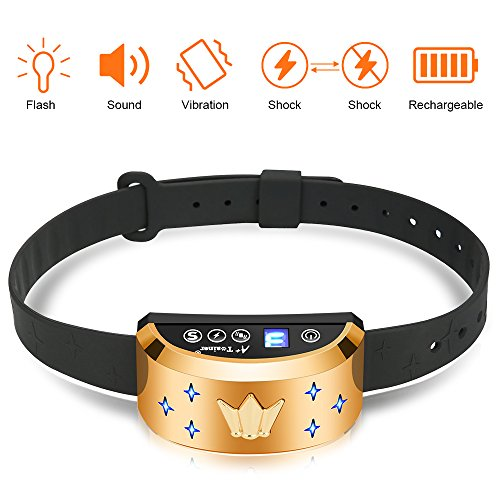 A+ Trainer Dog Bark Collar [2018 Upgrade Version] Humane Anti Bark Training Collar, Rechargeable & Rainproof with Digital Display Modes Beep/Vibration/Shock - 7 Levels of Sensitivity, Golden Color by A+ Trainer
