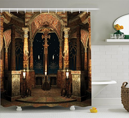 Curtain Ambesonne Building Illustration Bathroom