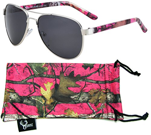 Hornz Hot Pink Camouflage Polarized Aviator Sunglasses for Women & Free Matching Microfiber Pouch – Small Size - Hot Pink Camo Frame - Smoke - Vogue Sunglasses Brand