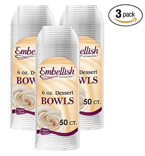 Embellish Hard Plastic 6 Ounce Clear Bowls 50 Count Pack Of (Candy Bowls For The Candy Buffet)