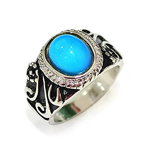 Fun Jewels Retro Style Silver Tone Multi Color Change Oval Stone Pattern Engraved Mood Ring Size (Mood Rings Size)