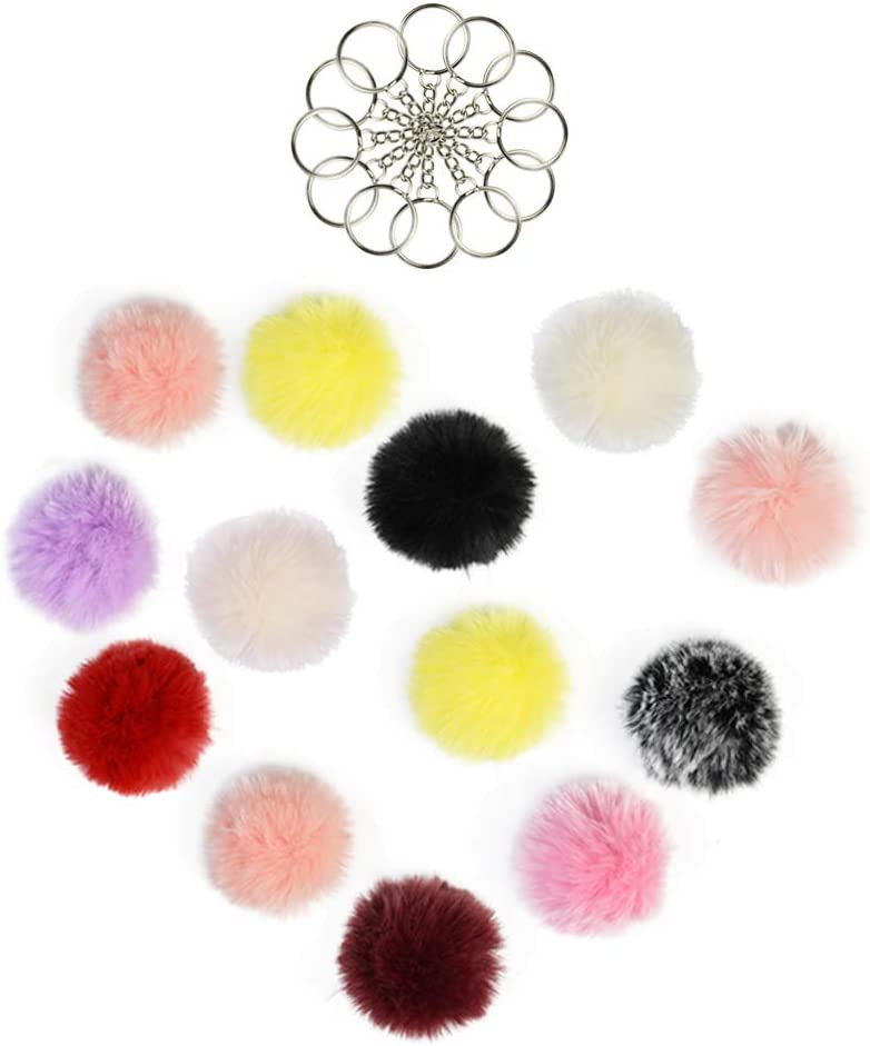 15 colors, 6cm//2.36 Tongcloud 30pcs Faux Fur Ball Pom Poms Keychains Pom Poms Keychains Fluffy Faux Fur Pompoms Balls for Girls Women Hats Shoes Bags Accessories