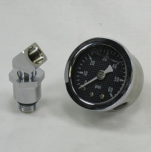 Oil Fitting Gauge (Marshall 60 psi Oil Pressure Gauge w/ Adapter Fitting 1970-Later Harley Big Twin, Shovelhead, Evolution - Shock Proof, Liquid Filled - Carbon Fiber Style Gauge Face - Bobber Chopper)