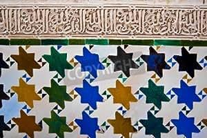 Arab Mosaic in the Alhambra of Granada en Spain (13744395), lino, 60 x 40 cm