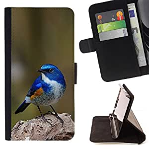 BullDog Case - FOR/Apple Iphone 6 / - / blue songbird blue spring green nature /- Monedero de cuero de la PU Llevar cubierta de la caja con el ID Credit Card Slots Flip funda de cuer